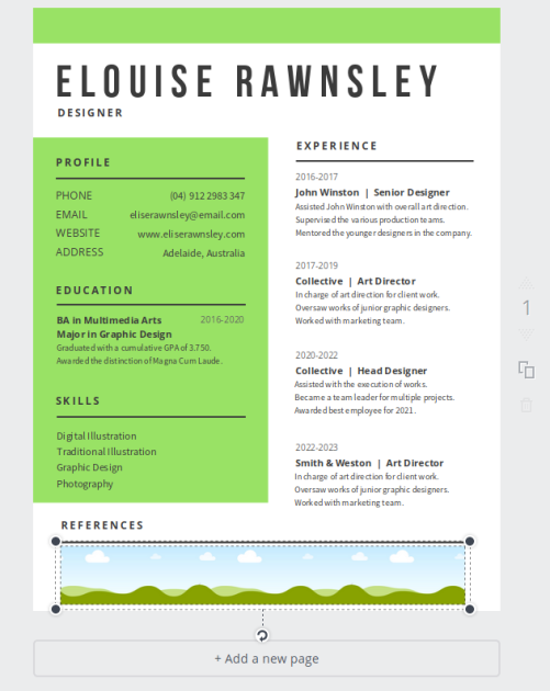 le menu elements  canva